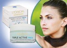 Friss, ragyogó arcbőr, L'oreal triple active fresh hidratáló nappali arckrémmel, normál és vegyes bőrre