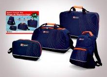Masszív, cipzárral záródó 4 db-os Benzi utazószett, sporttáskával, hátizsákkal, utazóbőrönddel + neszesszerrel
