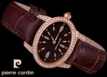 A rendkívüli elegancia megtestesítője - kövekkel díszített, Pierre Cardin női karóra bőr szíjjal