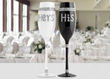 Romantikus pezsgős poharak