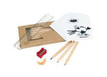 Mini színes ceruzakészlet ajándék színezővel, hegyezővel és vonalzóval