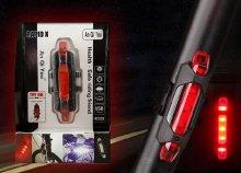 LED-es, USB-ről tölthető hátsó kerékpár lámpa világítás