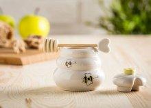 Porcelán mézes bödön hozzávaló fa merővel