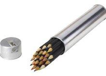 20 db színes ceruza, fekete bevonattal fémdobozba