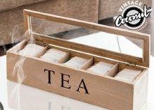 Vintage fa teásdoboz üvegtetővel