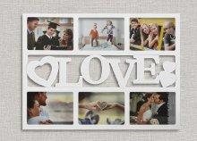 Love fényképkeret szívekkel 6 fényképhez