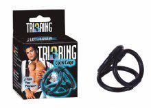 TRI RING COCK CAGE BLACK