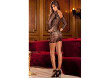 Crochet net long sleeve dress