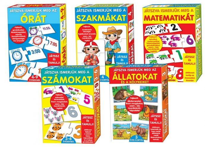 Többféle készségfejlesztő oktató, logikai játéksorozat