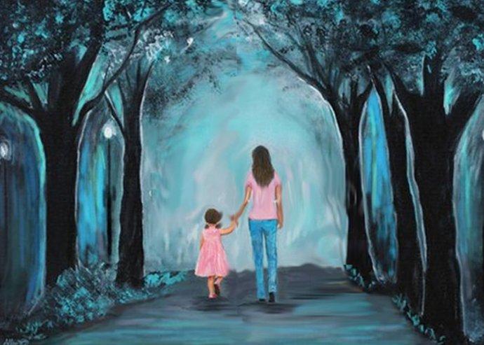 Anya-Lánya festmény elkészítése az Amikreativ.hu workshopján, 40x40 cm-es méretben