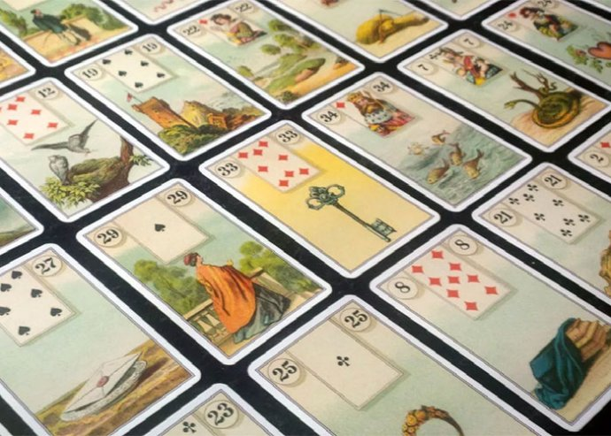 Lenormand kártyavető tanfolyam a Zafira Tanácsadástól, a kártyák jelentéseit összefoglaló profi jegyzettel