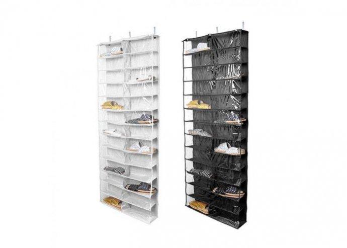 Ajtóra szerelhető cipőtároló, 160 x 55 x 16 cm - fekete