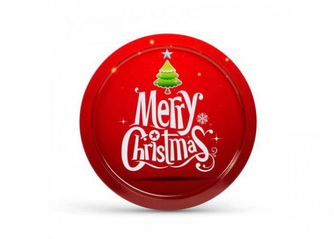 Karácsonyi tálca - fém - 31 cm - piros