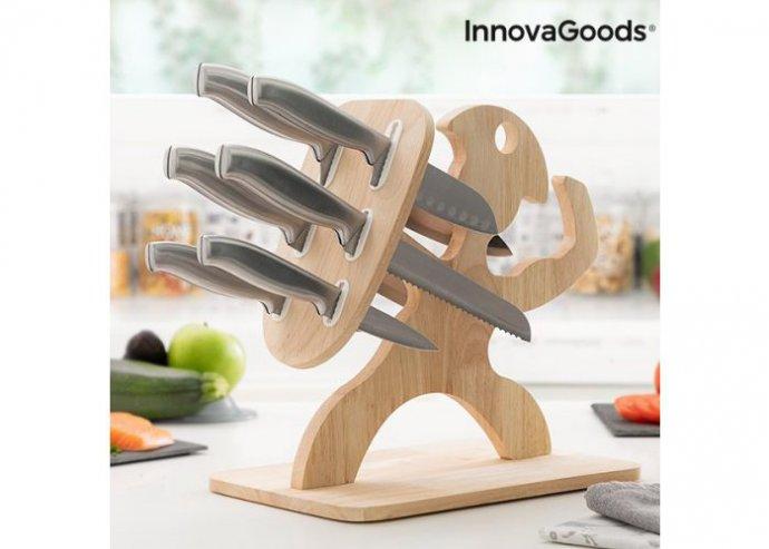 Kés készlet fa alappal Spartan InnovaGoods 7 Darabos