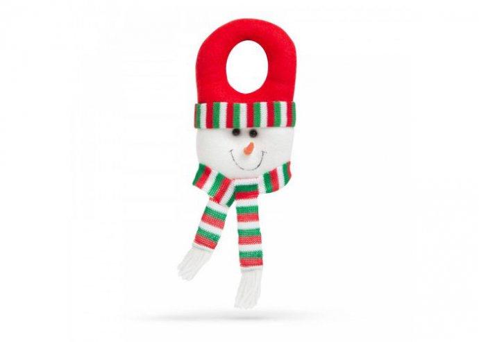 Karácsonyi kilincs dekor - hóember piros sapkában