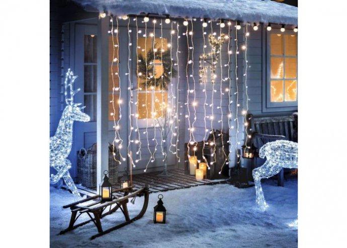 Karácsonyi LED fényfüggöny - 220 x 150 cm - melegfehér - 8 funkció