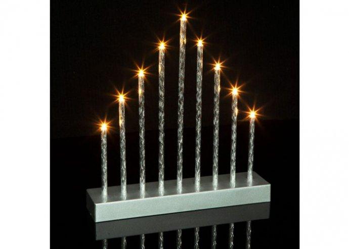 Karácsonyi LED gyertya dekoráció - 9 LED - melegfehér