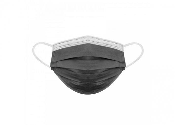 Szájmaszk - 3 rétegű - fekete - 10 db / csomag