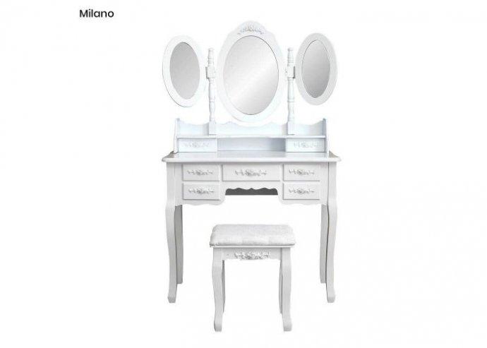 Tükrös fésülködő asztal - Milano - fehér