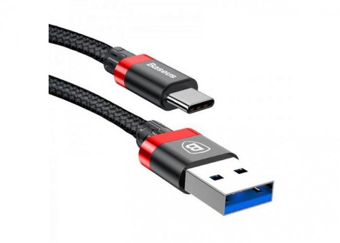 Baseus Golden Belt USB 3.0/ USB-C gyorstöltő kábel 3A 1m - Piros/Fekete