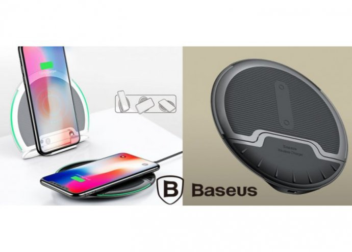 Álló/fekvő vezeték nélküli wireless töltő 10W Baseus - Fekete