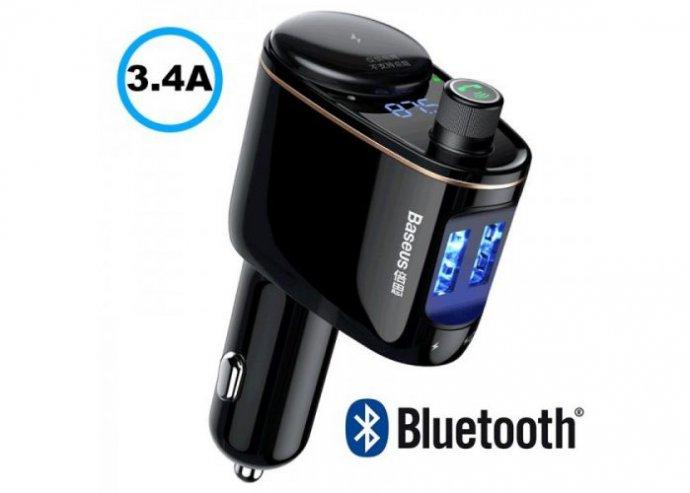 Baseus Locomitove Bluetooth - FM Transzmitter - MP3 lejátszó - 3.4A autós töltő - fekete