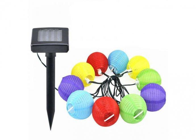 10 db-os, színes, szolár lampionfüzér