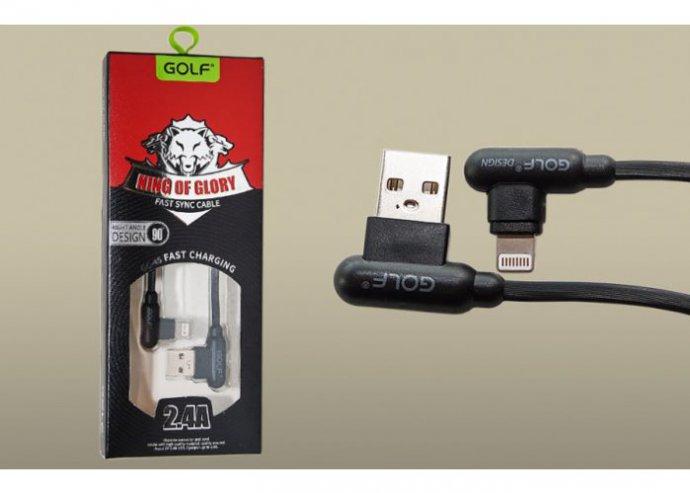 iPhone kábel 2.4A 1m – adat/töltőkábel – 90°-os fejekkel Golf