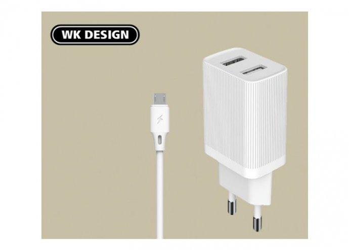 2USB hálózati töltő 2.1A + MicroUsb kábellel WP-U79m WK - Fehér