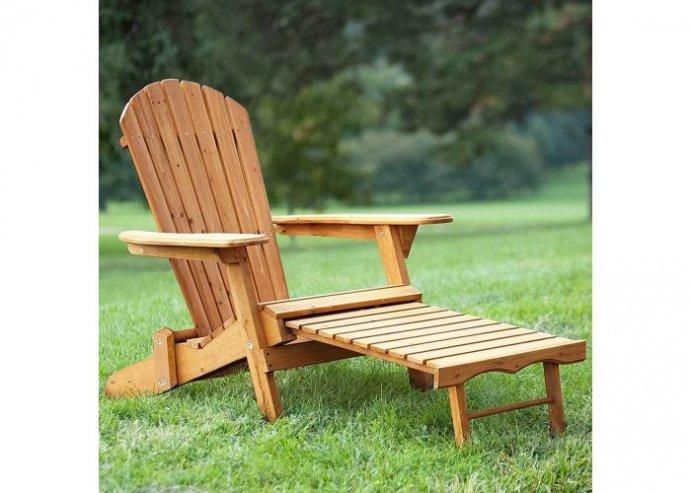 Kerti fa szék kihúzható lábtartóval - natúr