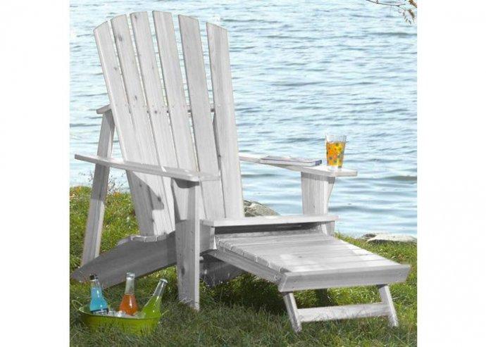 Kerti fa szék kihúzható lábtartóval - fehér
