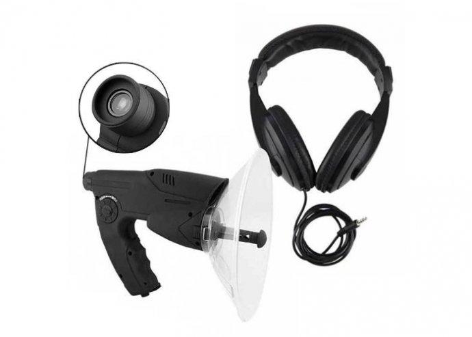 Irányított parabolikus mikrofon fejhallgatóval