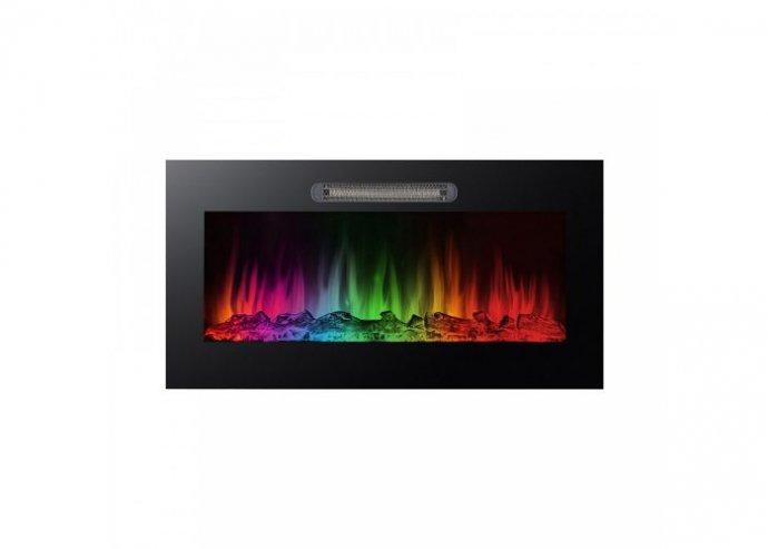 Elektromos beépíthető kandalló - hősugárzó + RGB LED - 91 x 15 x 48 cm