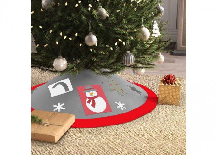 Karácsonyfa alá terítő - 97 cm - poliészter - piros / szürke