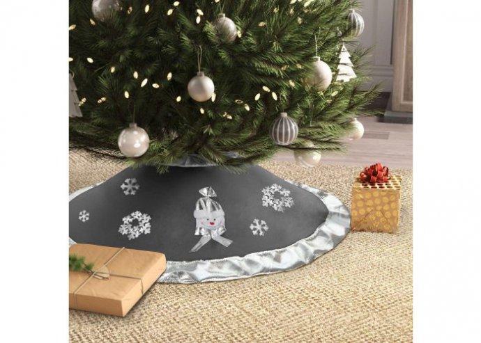 Karácsonyfa alá terítő - 97 cm - poliészter - szürke / ezüst