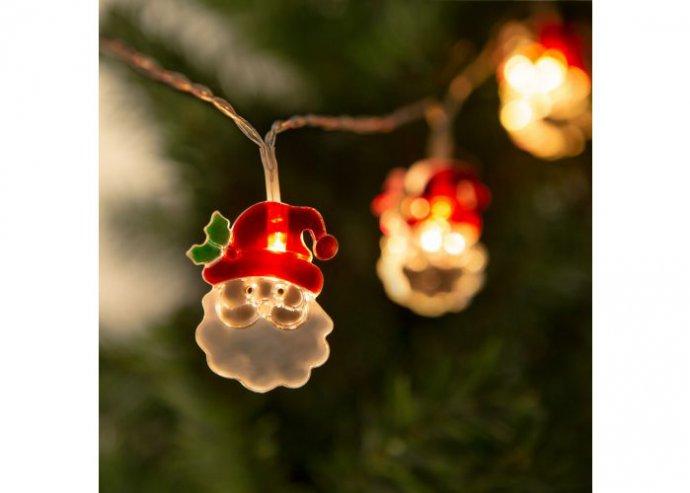 Karácsonyi LED fényfüzér - mikulás - 10 LED - 2 x AA - 1,35 m