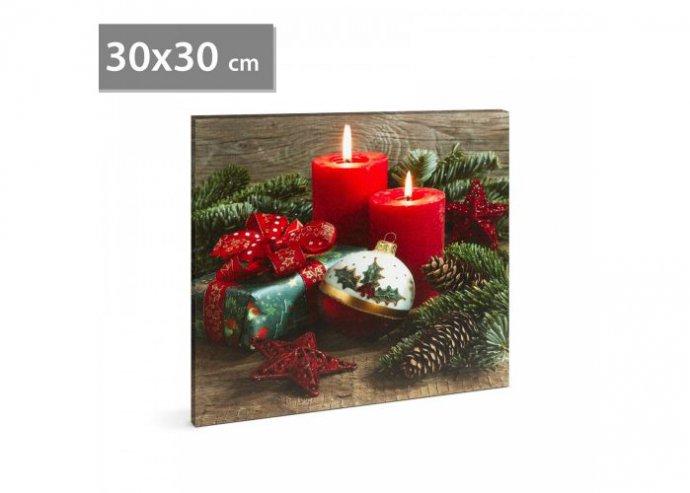 Karácsonyi LED-es hangulatkép - fali akasztóval, 2 x AA, 30 x 30 cm