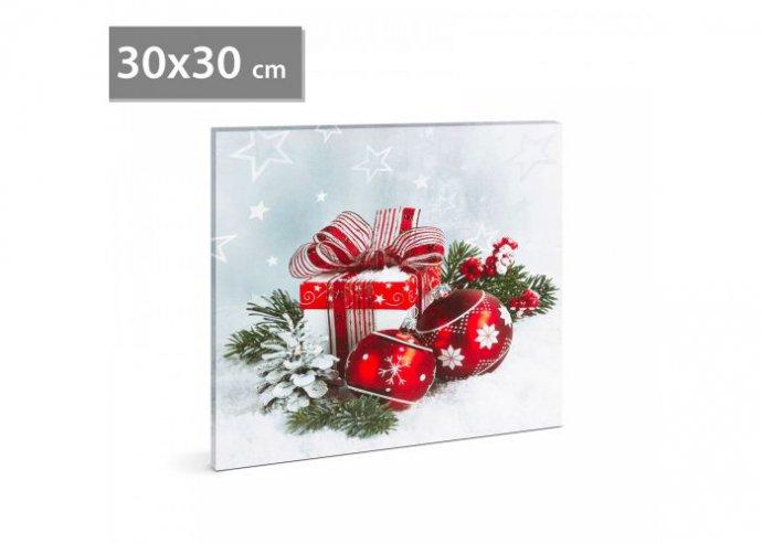 Karácsonyi LED-es hangulatkép - fali akasztóval, 2 x AA, 30 x 30 cm - gömb