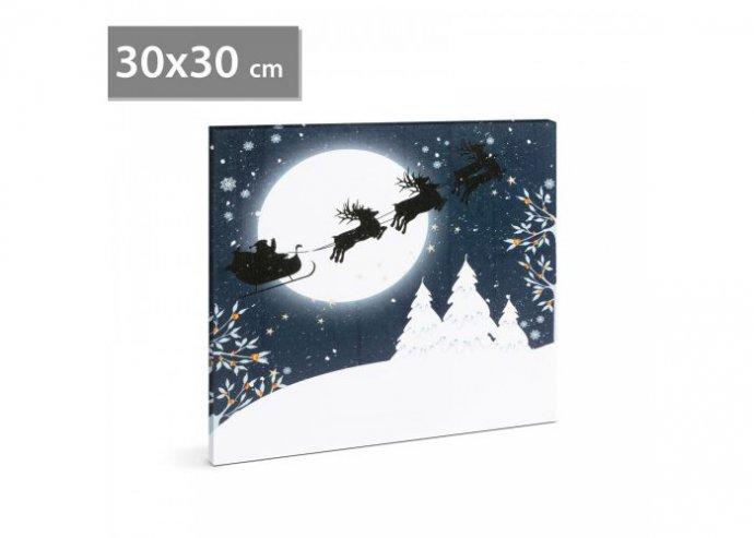 Karácsonyi LED-es hangulatkép - fali akasztóval, 2 x AA, 30 x 30 cm - Hold