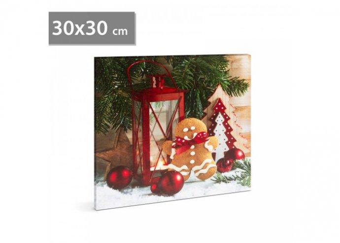 Karácsonyi LED-es hangulatkép - fali akasztóval, 2 x AA, 30 x 30 cm - mézeskalács