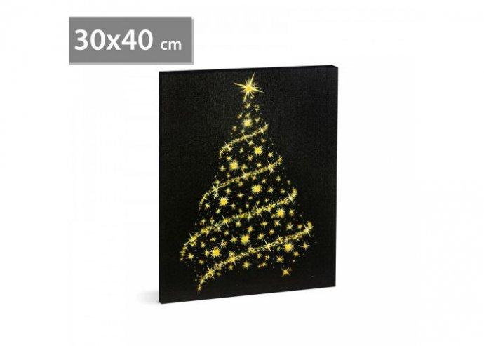 Karácsonyi LED-es hangulatkép - fali akasztóval, 2 x AA, 30 x 40 cm - karácsonyfa