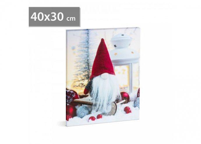Karácsonyi LED-es hangulatkép - fali akasztóval, 2 x AA, 40 x 30 cm