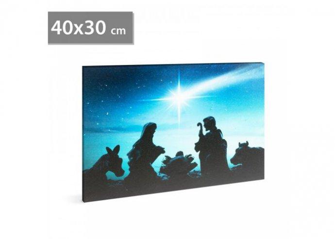 Karácsonyi LED-es hangulatkép - fali akasztóval, 2 x AA, 40 x 30 cm - Betlehem