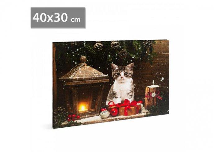 Karácsonyi LED-es hangulatkép - fali akasztóval, 2 x AA, 40 x 30 cm - cica