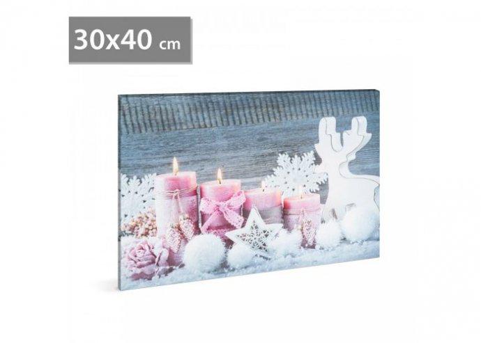 Karácsonyi LED-es hangulatkép - fali akasztóval, 2 x AA, 40 x 30 cm - pink