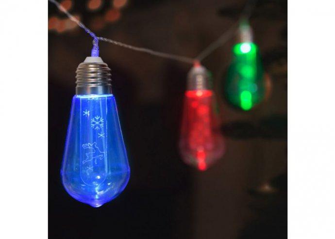 LED fényfüzér - Villanykörte - 10 LED - 1,9 méter - színes - 2 x AA