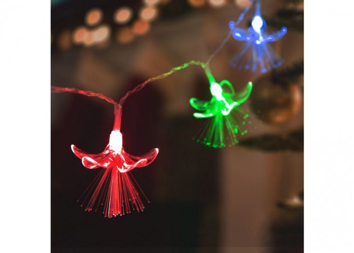 LED fényfüzér - virágos - 20 LED - 2,85 méter - színes - 2 x AA