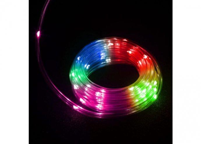 LED fénykábel - 50 LED - 5 méter - színes - 3 x AA - IP44