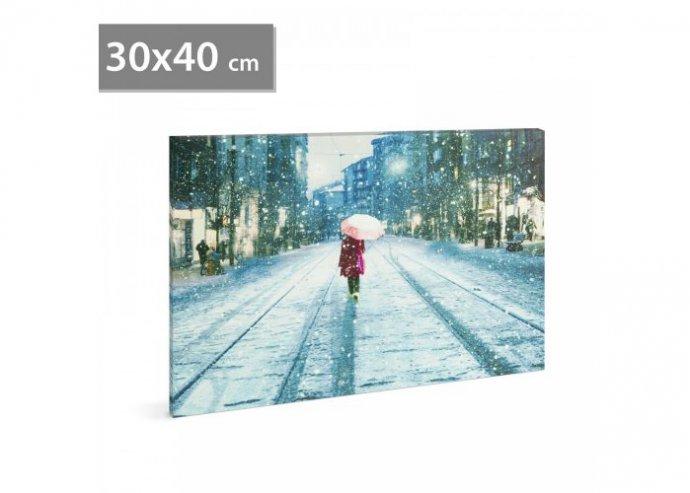 LED-es fali hangulatkép - téli táj - 2 x AA, 30 x 40 cm - Téli táj