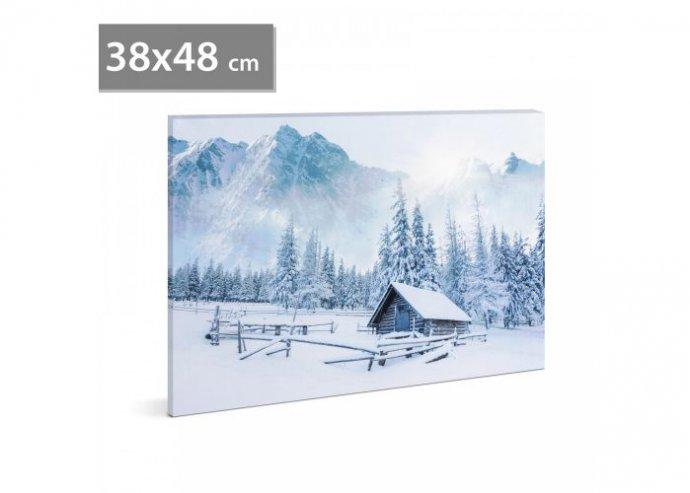 LED-es fali hangulatkép - téli táj 2 - 2 x AA, 38 x 48 cm